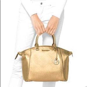 Michael Kors Riley Large Gold Leather Satchel